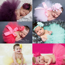 Cute Baby Girls Newborn Pearl Flower Headband + Tutu Skirt Set Photograph Prop