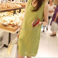 Korean Womens Solid Sleeveless Summer Sundress A-line Shirt Cotton Linen Dress