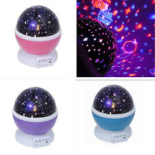 Baby Sleeping Night Light Rotate Sky Star Lamp Projector Space Solar System Gift