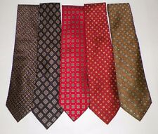 LOT 5 JOS A BANK 100% SILK NECK TIES BLACK RED RUST OLIVE GEOMETRIC PATTERN NWOT