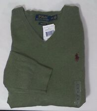 POLO RALPH LAUREN MENS PIMA COTTON V-NECK SWEATER SOLID OLIVE SZ S OR L  -NWT