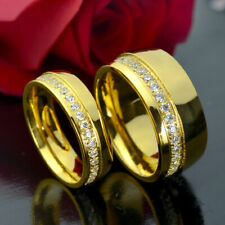 HIS HERS MEN'S WOMEN'S Gold Tone WEDDING ENGAGEMENT RING BAND SET R250