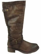Ladies Fabs Brown Faux Leather Mid Calf Buckle Biker Winter Boots Shoe Size 2704