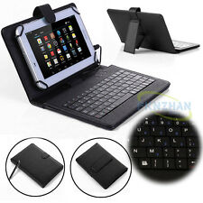 "New Universal 7"" 8"" 9.7"" 10.1"" Leather Stand Case Cover USB Micro Keyboard+Pen"