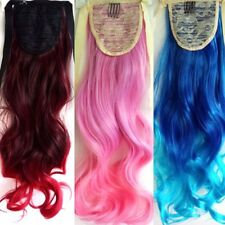 Lady Ombre Color Long ponytails Curlers Synthetic Clip Wavy Curly Hair Extension