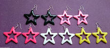 FUNKY 80s STAR EARRINGS DISCO BRIGHT STARS PLASTIC EMO GOTH DANGLY PUNK COOL FUN