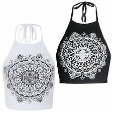New Ladies Mandela Print Tie Up Halter Neck Summer Vest Top 8-14