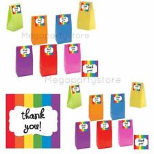 """Rainbow Paper Party Bags With Rainbow """"Thank You"""" Stickers/Kids Party Supplies"""