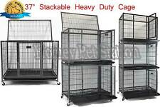"New 37"" Homey Pet Stackable Open Top Heavy Duty Dog Metal Cage Kennel w/ Tray"