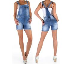Damen Stretch Jeans Latzshorts Shorts Hot Pants Latzhose Hose Overall ★ B4i