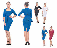 WOMENS PEPLUM CELEB SLEEVE PARTY COCKTAIL EVENING DRESS BODYCON SLIM FIT DRESS