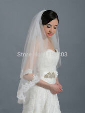 bridal wedding veil elbow alencon lace trim two layers with comb veil