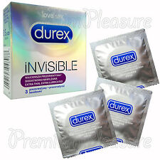 Durex Invisible Extra Lubricated thin condoms Ultra sensitive * Box of 3 PCS