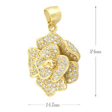 Sterling silver Pave Cubic Zirconia (CZ) Flower Necklace pendant