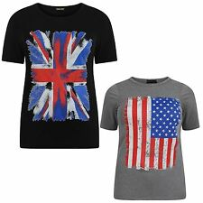 New Ladies American,union Jack Flag Print T-shirts 12-26