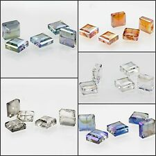 5pcs 13mm Faceted Square Glass Crystal Loose Spacer Beads
