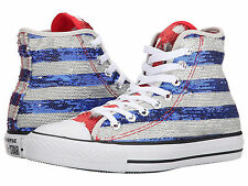 CONVERSE Chuck Taylor Sequin AMERICAN FLAG All Star Hi Top Sneakers Shoes 5 9.5