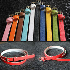 8 Colors Women Faux Leather Thin Skinny Waist Belt Metal Buckle Charming   Belt