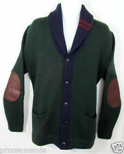 498 Polo Ralph Lauren Wool Jacket Leather Elbow Patch Cardigan Shawl Sweater S M