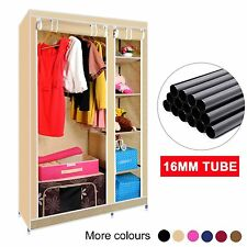 DOUBLE CANVAS WARDROBE WITH HANGING RAIL 5 SHELVES STORAGE FURNITURE 16MM TUBE
