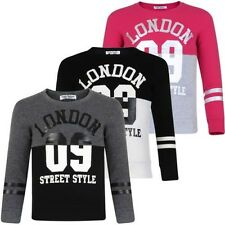 Girls Boys Pullover Top Kids London 09 Print Fleece Jumper Sweatshirt Sizes 3-14