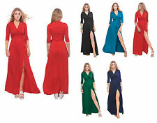 WOMENS LONG SLEEVE MAXI FULL LENGTH WRAP CROSSOVER DRESS SUMMER RESORT BEACH