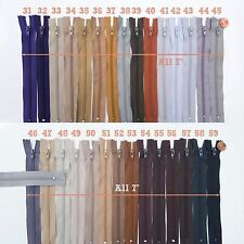 """Closed End #3 Short Nylon Zippers - 7"""" Inch Zipper - Lots of Colors - S7+"""