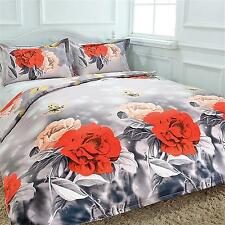 Double/King Size Bed Doona/Quilt Duvet Cover Set 3D Effect Roses with Butterfly