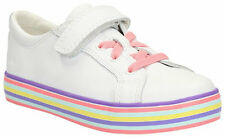 Clarks BRILL TARA Girls white leather trainer shoes UK 10 - 12 F & G Fitting