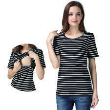 NEW Breastfeeding Clothes For Pregnant Women Stripe Nursing Top Maternity Shirts