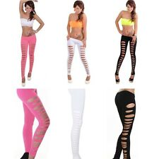Women Leggings Candy Color Skinny Ripped Hole Cut Out Leggings Tight-Pants