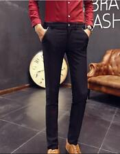 New Fashion Solid Black Blue Men's Pants Straight Slim Fit Casual Pants Trousers