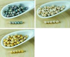 100pcs Picasso Round Bird Eggs Czech Glass Beads Spacer 4mm