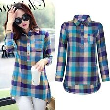 Fashion Women Plaid Check Button Down Casual Long Sleeve Lapel Shirt Tops Blouse