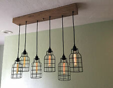 "Linear Wood Chandelier with Black Metal Cage Pendants, 35"" Reclaimed Barn Wood"