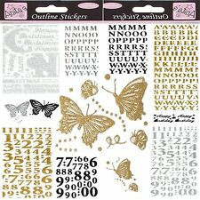 Papermania Glitterations Peel Off Stickers Alphabet Numbers Birthday Silver Gold