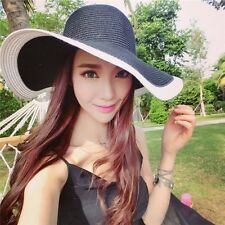 Summer Women Derby Floppy Straw Hat Sun Beach Cap Foldable Wide Brim Boho Hat