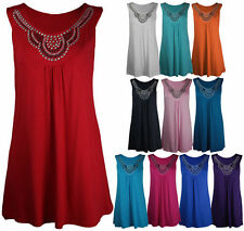 New Womens Plus Size 14 - 28 Long Beaded Sleeveless Stud Ladies Vest Top Shirt