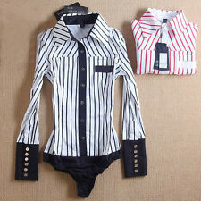 Women Striped Long Sleeve Bodysuit Blouse OL Slim Shirt Tops Jumpsuit