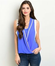 New Women Cute Blue Ivory Sleeveless Wrap Blouse Top with Inner Lining