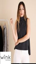 BNWT Ajoy Longline, sleeveless, striped turtleneck top blouse