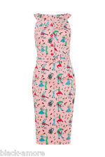 New Wiggle Dress 50s Kitsch Print Rockabilly Vintage Pink Pin Up Retro Dinner