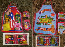 Puerto Rico Kitchen & BBQ SET - APRON, POT HOLDER, OVEN MITT AND KITCHEN TOWEL