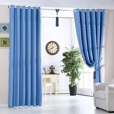 Blue Eyelet Ring Top Thermal 100% Curtains Heavy Fabric Ready Made Pairs Curtain