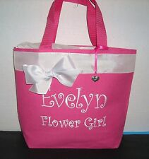 Personalized Flower Girl Small Tote with Charm Choice of  Bag and Ribbon Colors