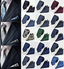 15 Colors Mens Ties Silk & Pocket Square Handkerchief SET Dot Paisley Wedding