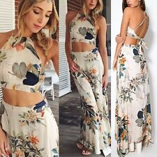 Women Summer Floral Bodycon Halter Backless Bandage Crop Top+Long Maxi Skirt Set