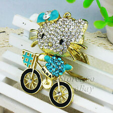 New Crystal Keychain Cat Cycling Key Chain Ring Kitty Keyring Bag Charm Pendant