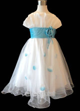 White Blue Pageant Children Kids Wedding Flower Girls Gown Party Dress Age 2-13Y