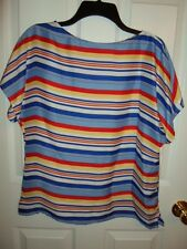 CHAPS RALPH LAUREN BLUE YELLOW RED WHITE STRIPED TUNIC TOP BLOUSE XS S XL NEW